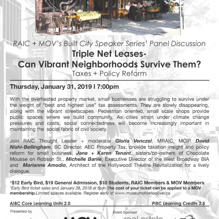 Join us for a lively dialogue about small business neighbourhoods & how we can shift from 'survive' to thrive - Jan. 31 at MOV